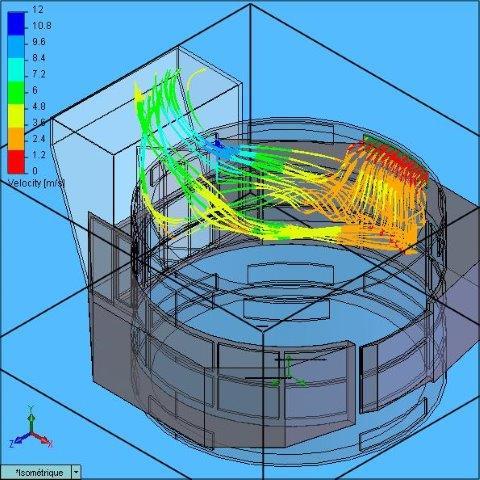 2.13, 367, Voith Hydro, Avec défl 40°-35°, Flow trajectories Haut 9h00