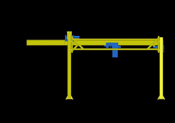 Pont-roulant sur mesure avec porte-à-faux sous toit en angle - ABMS Consultants